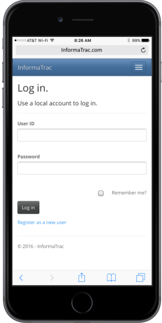 InformaTrac Pro - iPhone - Log In Screen - Device
